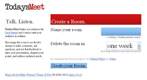TodaysMeet is a backchannel tool used during a presentation so that the audience can post questions, add resources and ideas, and collaborate with each other as the presentation is going on. One use of this tool in the classroom is to project the page on the wall as the teacher is teaching. As students post their questions, they can be reviewed by the teacher before the class ends to clear up any points of confusion.