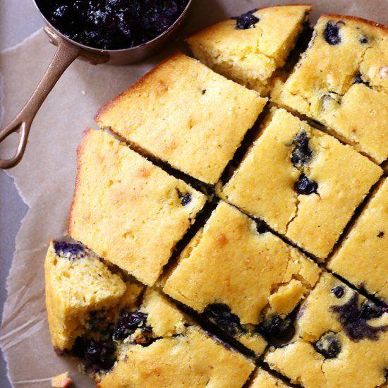 Blueberry Buttermilk Cornbread - an easy and delicious skillet cornbread.