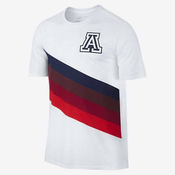 REPRESENT YOUR TEAM The Nike Tri-Blend (Arizona) Men's T-Shirt honors a renowned golf program with a school logo and colors on super-soft, sweat-wicking fabric. Benefits Dri-FIT fabric helps keep you dry and comfortable Soft, blended fabric feels smooth against your skin Product Details Fabric: Dri-FIT 50% polyester/25% cotton/25% rayon Machine wash Imported