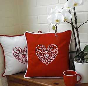 Scandinavian Style Embroidered Heart Cushion - personalised cushions £42