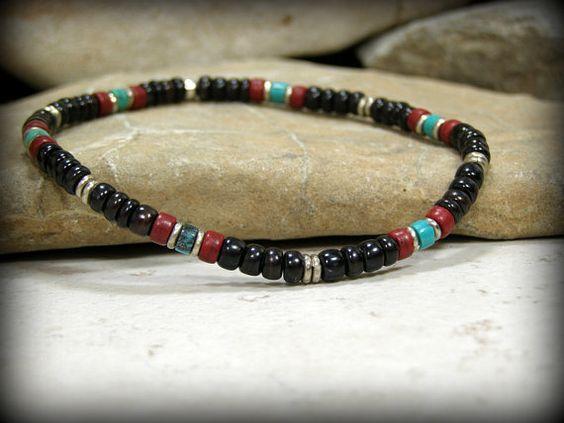 Mens pulsera pulsera Tribal nativos americanos por StoneWearDesigns