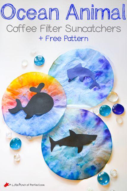 Ocean Animal Coffee Filter Suncatcher Craft for Kids + Pattern | A Little Pinch of Perfect: