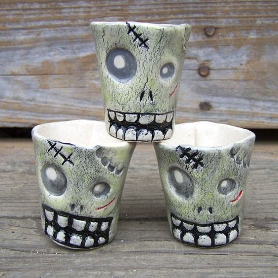 Zombie Shot Glasses  Large  Ready to Ship by MuddPuppyPottery, $16.00