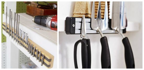 Magnetic strips for garden tools, drill bits or other tools in the garage.