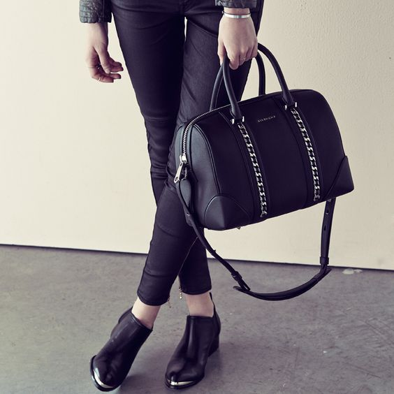 Add some edge to your ensemble with a studded leather satchel.