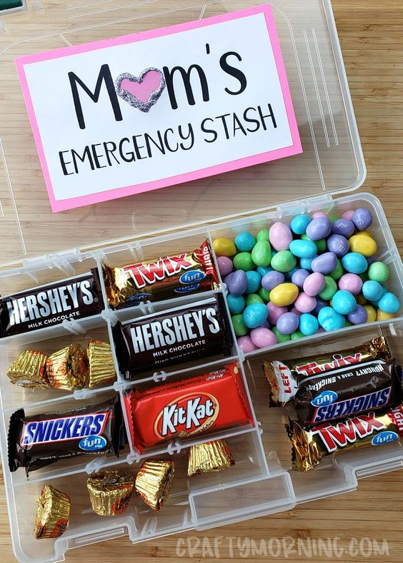 Moms emergency candy stash- tackle box fishing organizer! GENIUS!! Easy mothers day gift idea • Mom useful birthday gift • gift from kids, daughter • best expecting cute gift DIY and to buy • creative and special gift for mother •
