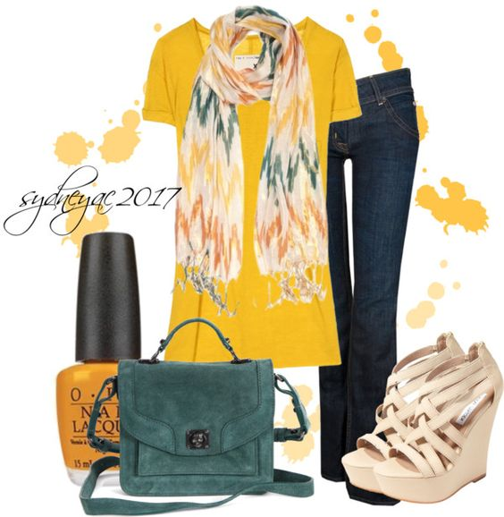 """Orange. Teal. Yellow"" by sydneyac2017 ❤ liked on Polyvore"
