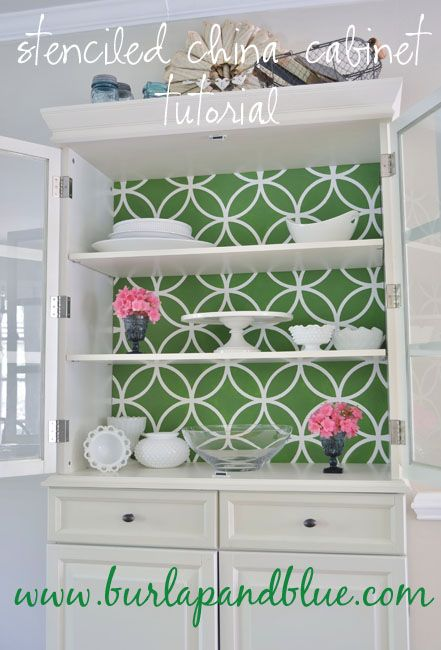 Stencil painted china cabinet. Beautiful! I love the color too!