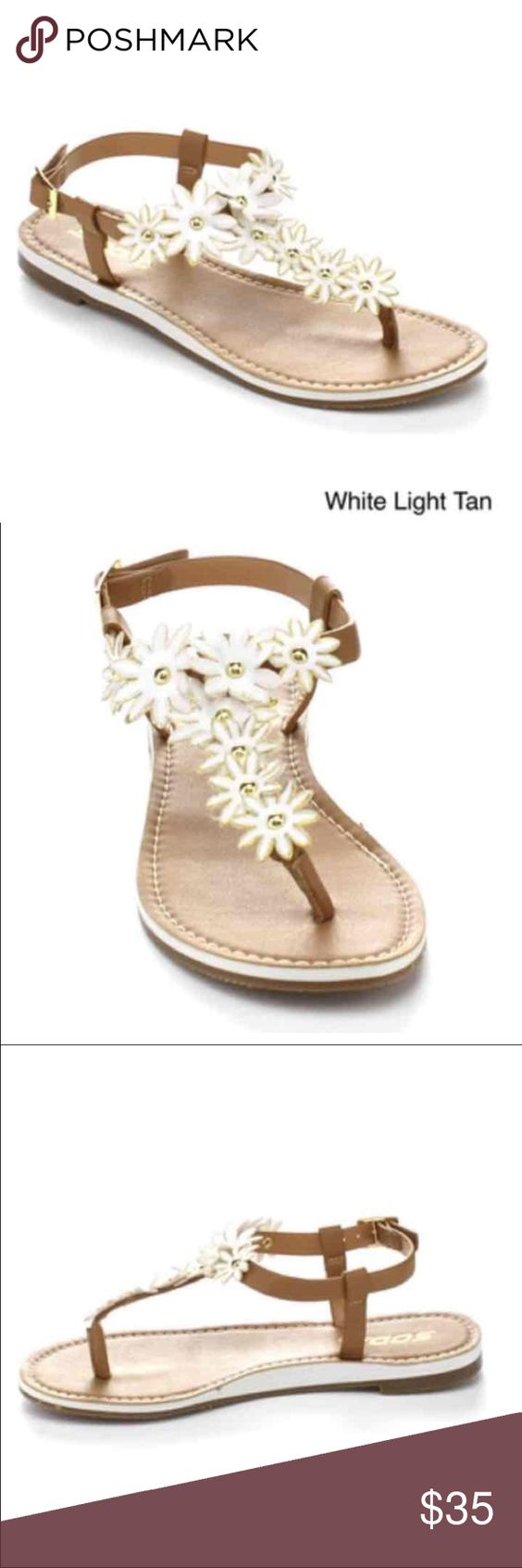 SODA White Flower Sandals Cute white sandals with stud flowers! Soda Shoes Sandals