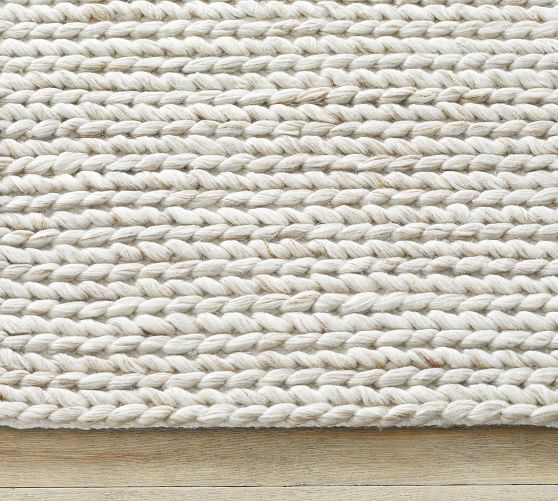 Chunky Knit Sweater Rug Heathered Oatmeal Pottery Barn In 2020 Chunky Knits Sweater Synthetic Rugs Cozy Rugs