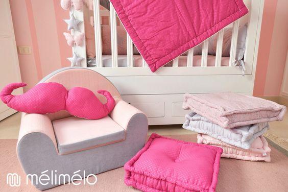 Déco chambre fille mélimélo fauteuil enfant, coussin de sol, couverture, coussin déco mélimélo