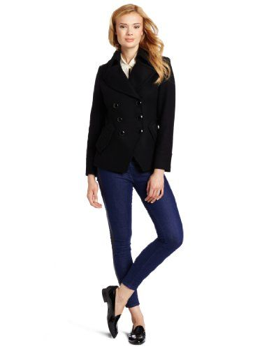 Trina Turk Women&39s Short Peacoat Black 12 Cutaway styling