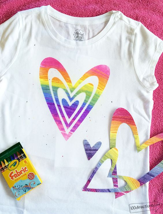 Pick up some Crayola Fabric Crayons to create an adorable DIY Rainbow Art T-Shirt! The possibilities are endless.