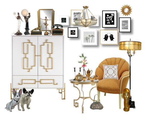"""Art Deco"" by marionmeyer on Polyvore featuring interior, interiors, interior design, Zuhause, home decor, interior decorating, Pier 1 Imports, Dot & Bo und artdeco"