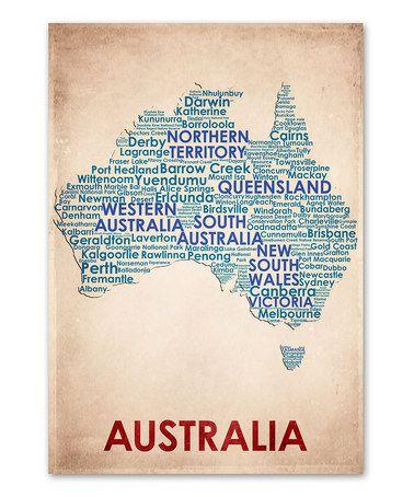 'Australia' Map Print #zulily #zulilyfinds