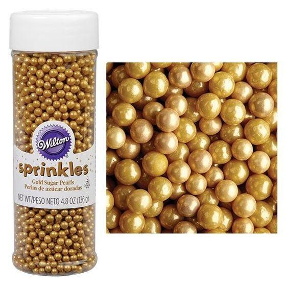 Cake Decorating Gold Sprinkles : Wilton Sugar Pearls Sprinkles 4.8oz edible iridescent ...