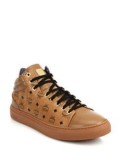 MCM - Coated Canvas & Leather Mid-Rise Logo Sneakers