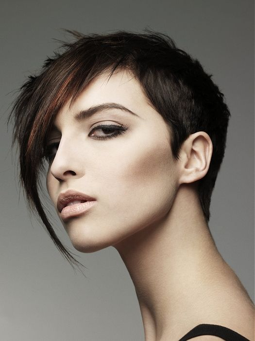 short brown straight shaved coloured Modern Womens ...