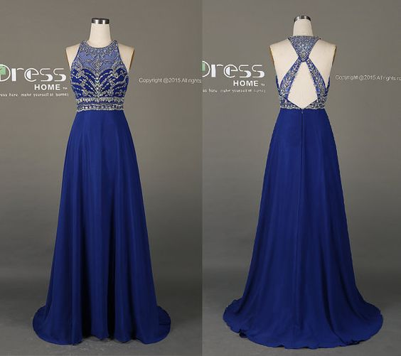 Royal Blue High Neck Beading Long Prom Dress/New Criss Cross Back Prom Dresses/Silver Beading Prom Dress Long/Royal Party Dress DH199