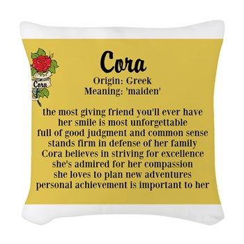 Throw Pillow Meaning : Cora Name Meaning Design Woven Throw Pillow Name meanings, Throw pillows and Names