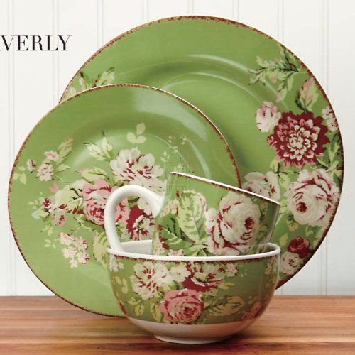 Green And White Kitchen Ideas Vintage Floral Dinnerware