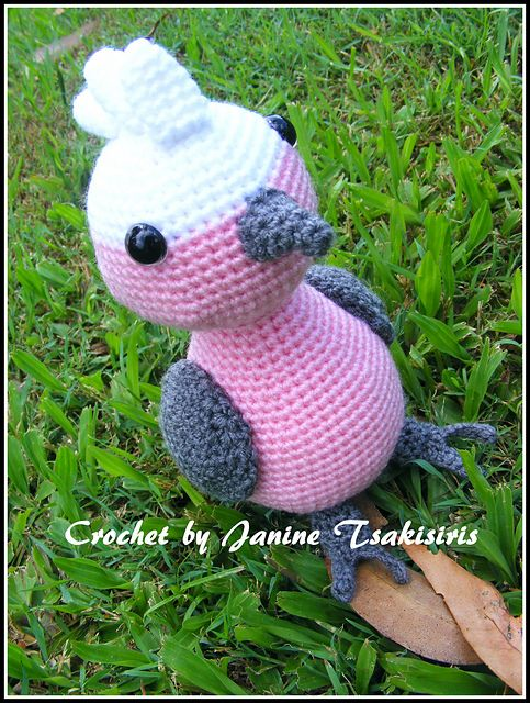 Crochet Stitches In Australia : Crochet Amigurumi Galah was designed for Lincraft Australia by Janine ...