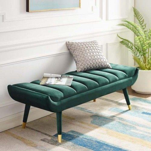 Forest Green Velvet Channel Tufted Mid Century Bench Gold Feet Living Room Sofa Design Living Room Bench Sofa Set