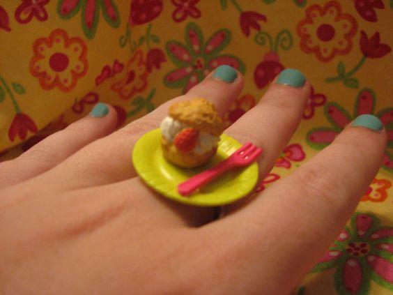 Strawberry Cream Puff Ring by MegEMays on Etsy, $8.00