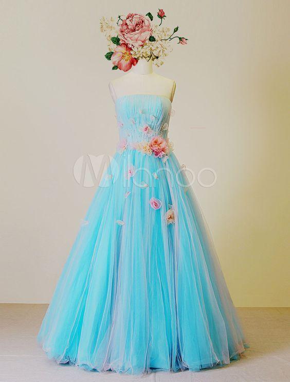 Bodenlanges Kleid trägerlos plissierten Sicke a-line Quinceanera Ballkleider mit Blumen-Dekor