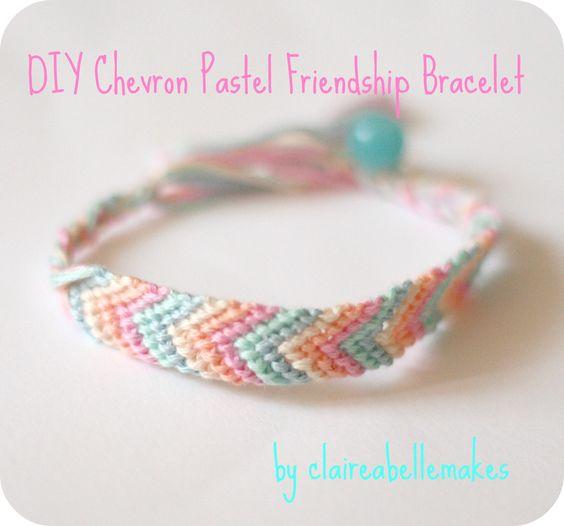 DIY Chevron Pastel Friendship Bracelet by claireabellemakes http://claireabellemakes.com/2012/08/04/diy-chevron-pastel-friendship-bracelet/#