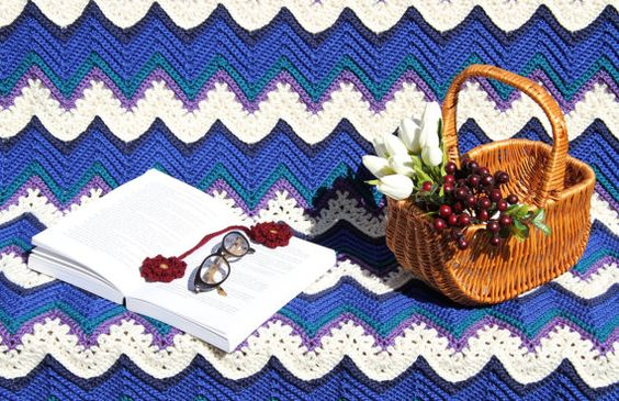 Crochet afghan chevron ripples home decor lap by JilaCrochet