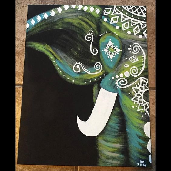 Tribal Elephant Painting by MadeMaudlin on Etsy https://www.etsy.com/listing/279504008/tribal-elephant-painting