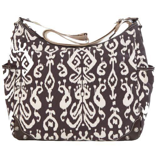 Chocolate Ikat Hobo Diaper Bag made from organic cotton