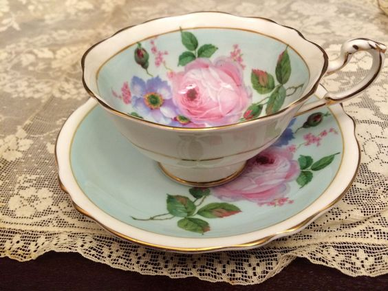 Paragon Cup And Saucer. Blue With Large Pink Rose #Paragon
