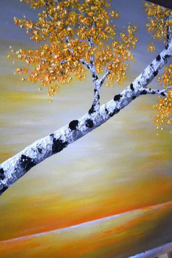 Birch tree painting wall hanging art decor original by ZarasShop