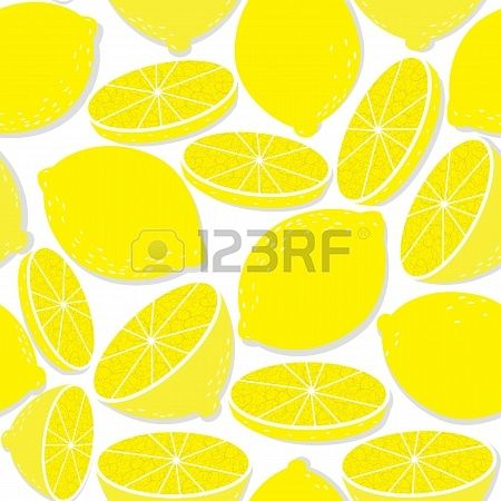 Lemon seamless background isolated on white  pattern of medical food  Tropical symbol