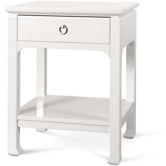 harlow 1 drawer side table in white design by bungalow 5 894 bungalow 5 white lacquered