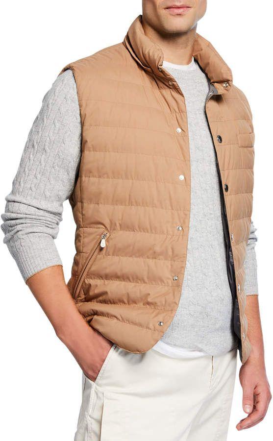 Brunello Cucinelli Men S Snap Vest With Removable Hood Jackets Men Fashion Brunello Cucinelli Men Mens Outfits