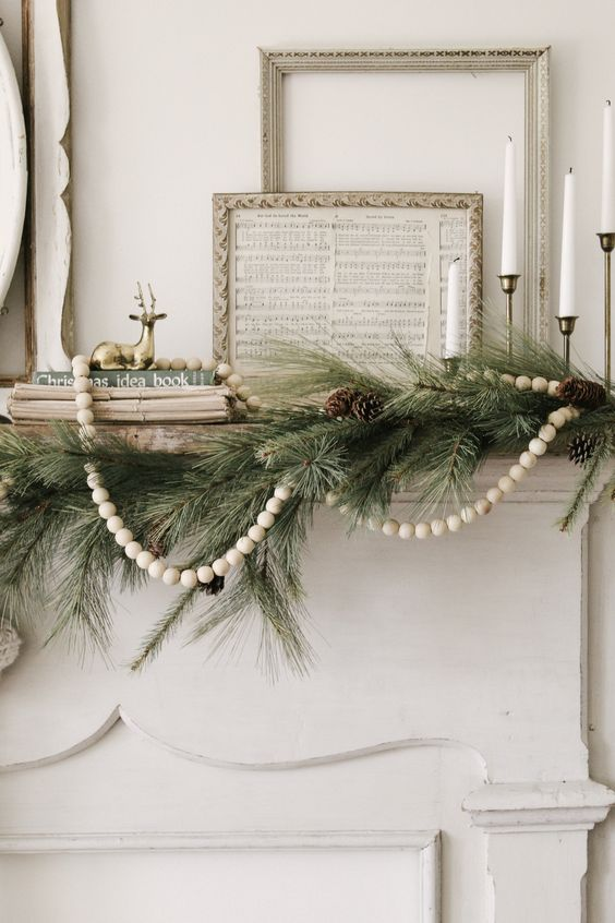 Whimsical Gold Winter Antique Mantel
