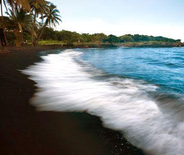Punalu'u Beach, Hawaii.  Jet-black sand.