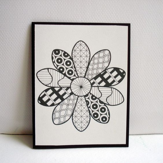 Daisy Zentangle Cards / / Set Of 4 Greeting Cards. $12.00