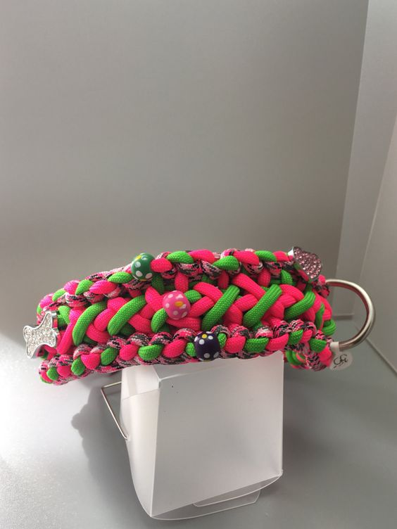 10 inch neon pink, green, and pink camo dog collar made with Paracord comes with matching 32 inch Dog leash