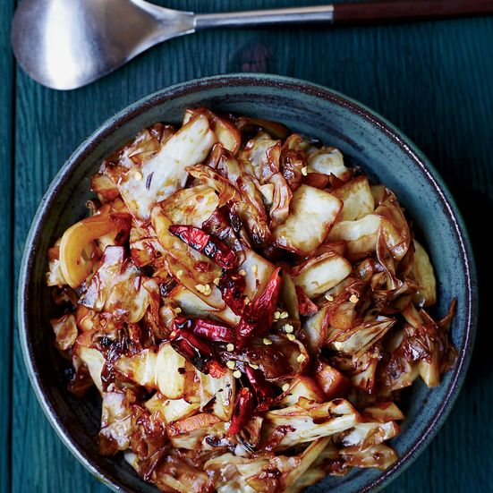 This delicious, spicy Chinese dish is made with stir-fried cabbage, mushroom soy sauce, Sichuan peppercorns and dried chiles, which add fantastic heat.