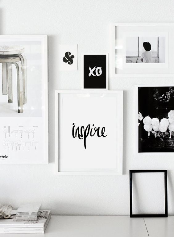 "Printable Typography Art Inspirational Quote ""Inspire"" Black and White Handwriting Style Motivation Home Decor Wall Instant Download Digital on Etsy, $9.00:"