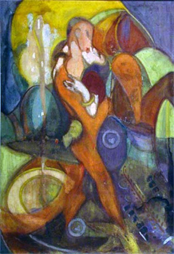 """""""O Beijo"""", têmpera sobre tela de 1923 de Emiliano Di Cavalcanti.  Veja mais em: http://semioticas1.blogspot.com.br/2013/06/arte-entre-guerras.html"""