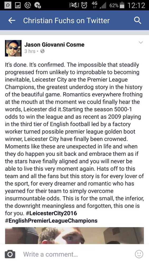 Hispantv: El #Leicester campeón de #Inglaterra por primera vez en su historia https://t.co/ha1dmeoqBd https://t.co/mhn279FKIm