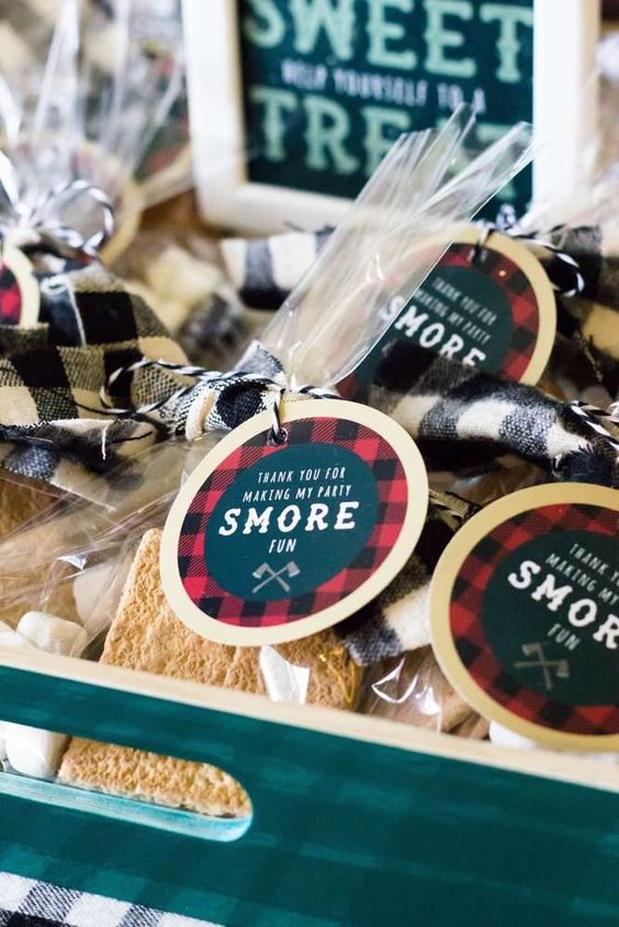 S'more favors at a lumberjack birthday party! See more party ideas at CatchMyParty.com!