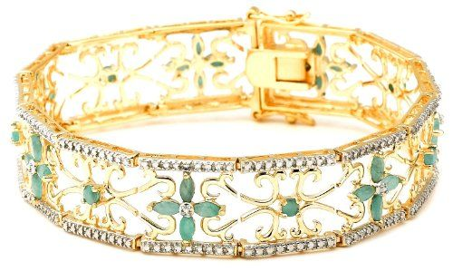 """Amazon.com: 18k Yellow Gold Plated Sterling Silver Emerald and Diamond Accent Bracelet, 7.25"""": Jewelry"""