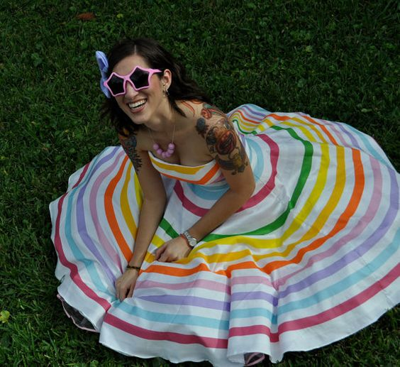 Rainbow Stripe Strapless Prism Dresscustomizable by missbrache, $415.00