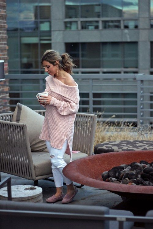 Pink Off the Shoulder Sweater, SheIn sweater, Old Navy distressed denim, MGemi loafers   Glass of Glam   A DC Style Blog